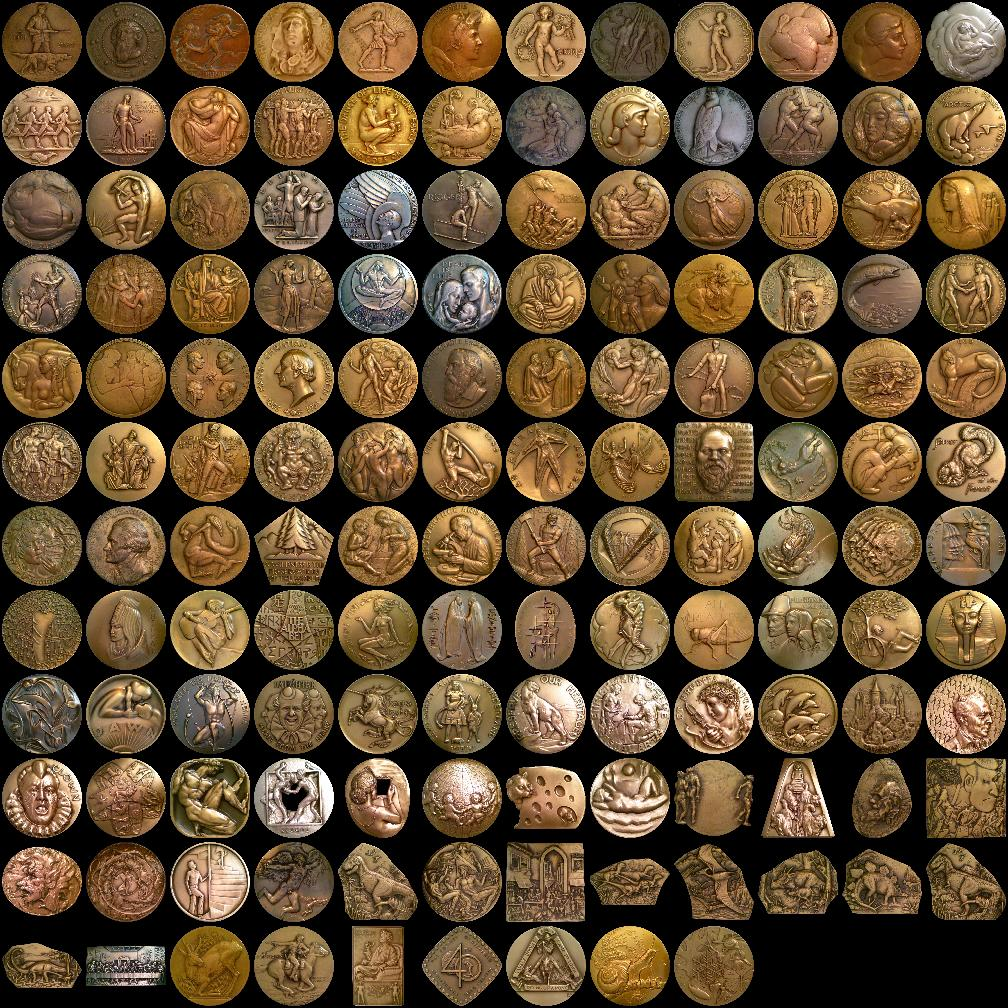 Mosaic of all medals in the series