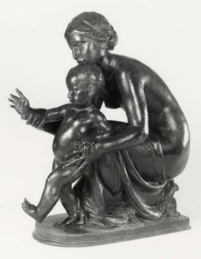 Statue of sculptor's wife and toddler child