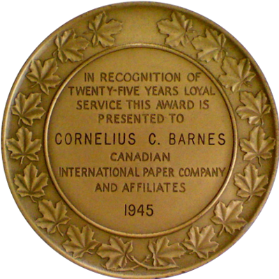 Reverse of Canadian International Paper Company medal