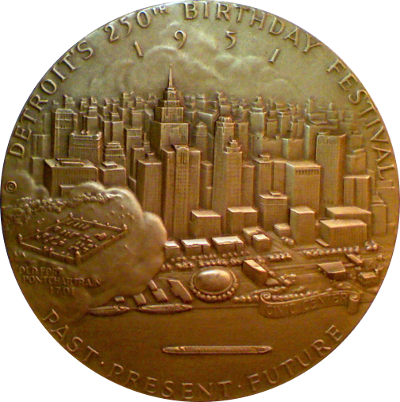 Reverse of Detroit 250th Anniversary Medal