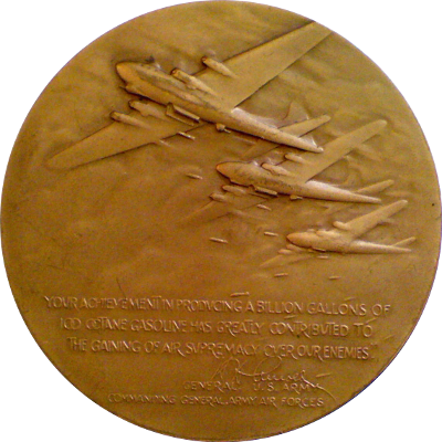 Reverse of Humble Oil medal