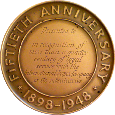 Reverse of International Paper Company medal
